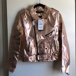 Metallic genuine leather jacket